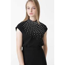 ◆ダブルクロスパール刺繍ブラウス ブラック