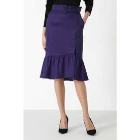 ◆カラーフラノマーメイドラップスカート パープル