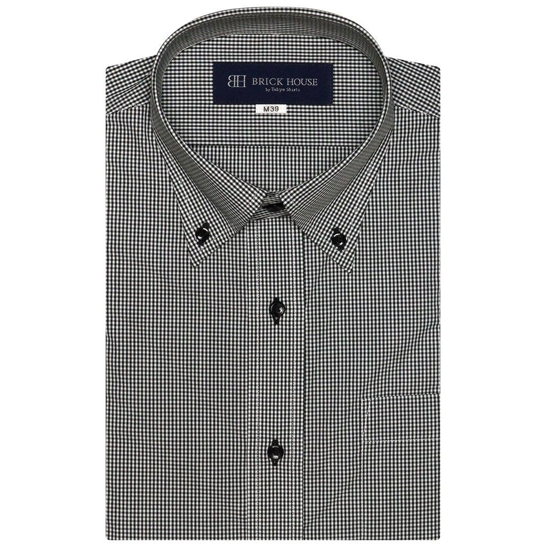 トーキョーシャツ TOKYO SHIRTS 形態安定ノーアイロン ボタンダウン 半袖ビジネスワイシャツ (グレー)