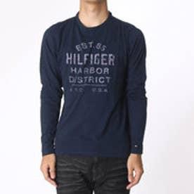 トミーヒルフィガー TOMMY HILFIGER ロングスリーブロゴTシャツ (ネイビー)