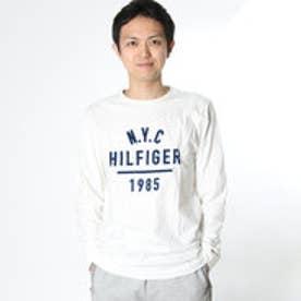 トミーヒルフィガー TOMMY HILFIGER ロゴプリントロングTシャツ (ホワイト)