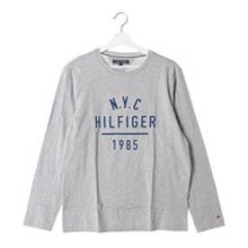 トミーヒルフィガー TOMMY HILFIGER ロゴプリントロングTシャツ (グレー)