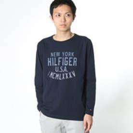 トミーヒルフィガー TOMMY HILFIGER ロゴプリントロングTシャツ (ネイビー)