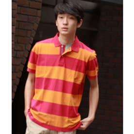 トミーヒルフィガー TOMMY HILFIGER カラーブロックストライプポロシャツ (オレンジ)