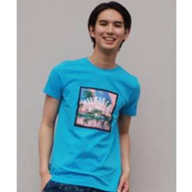 トミーヒルフィガー TOMMY HILFIGER コットンジャージプリントクルーネックTシャツ (ブルー)