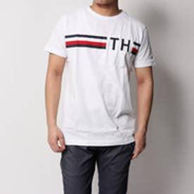 トミーヒルフィガー TOMMY HILFIGER ロゴストライプTシャツ (ホワイト)