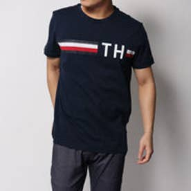トミーヒルフィガー TOMMY HILFIGER ロゴストライプTシャツ (ネイビー)