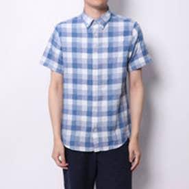 トミーヒルフィガー TOMMY HILFIGER スリムフィットコットンリネンチェックシャツ (ブルー)