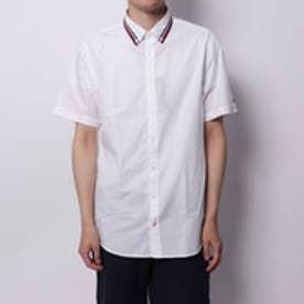 トミーヒルフィガー TOMMY HILFIGER ストライプカラーショートスリーブシャツ (ホワイト)