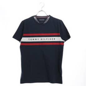 トミーヒルフィガー TOMMY HILFIGER ラインロゴTシャツ (ネイビー)