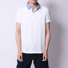 トミーヒルフィガー TOMMY HILFIGER デニムプリントカラースリムポロシャツ (ホワイト)