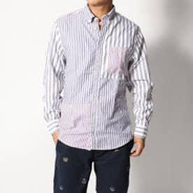 トミーヒルフィガー TOMMY HILFIGER ストライプパッチワークシャツ (パープル)