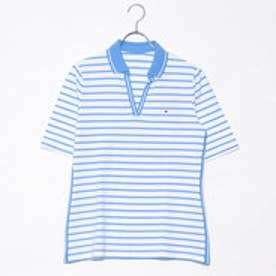 トミーヒルフィガー TOMMY HILFIGER W TORY STRIPED POLO (ネイビー)