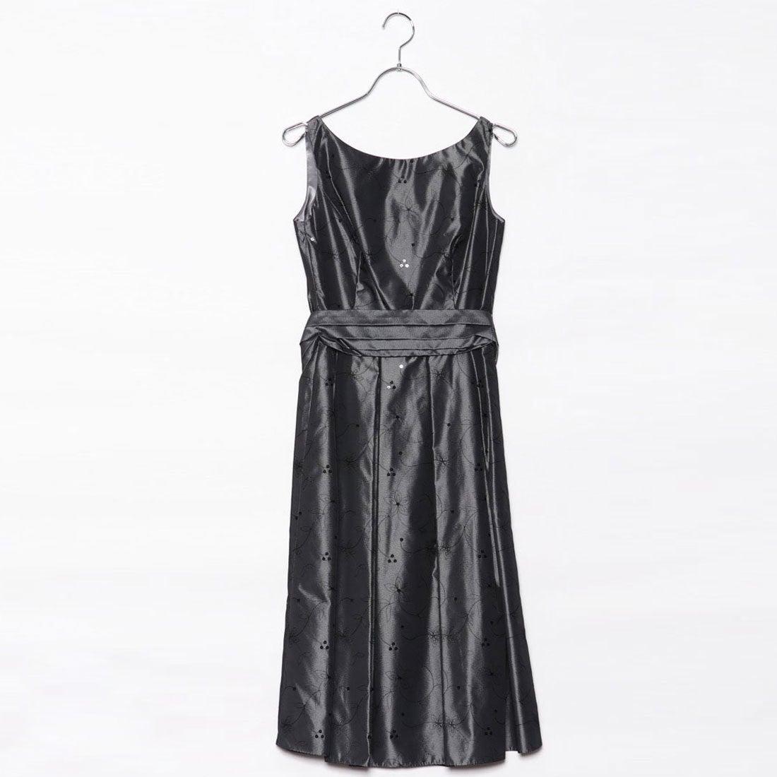 9985760a89d64 ジュネビビアン Genet Vivien ベルト付き刺繍ドレス (ダークグレー) -アウトレット通販 ロコレット (LOCOLET)
