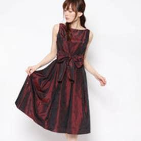 ジュネビビアン Genet Vivien ベルト付き刺繍ドレス (ダークワインレッド)