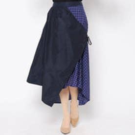 ドネーカーサ DONEY casa ロングタフタチェックコンビスカート (ブルー)