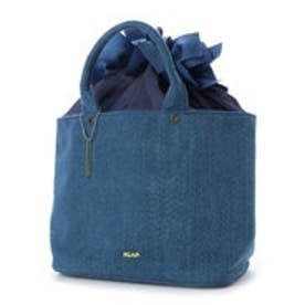 ミアン MIAN リボン巾着付きトートバッグ (ブルー)