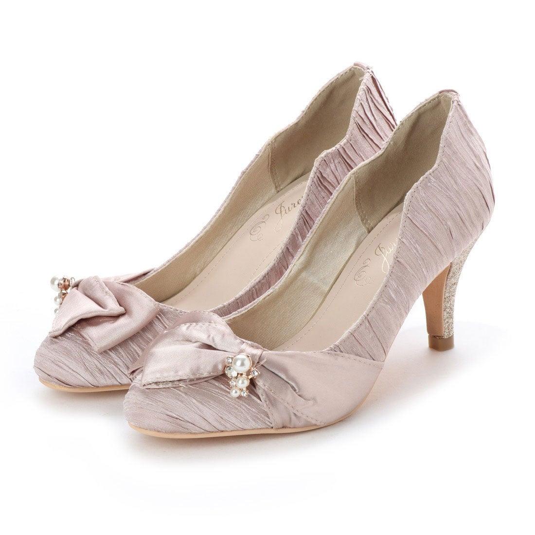 5e50a1e33845c ジュレ Jurer by vivian ビジューリボン踵スカラップラインパンプス (ベージュ) -靴&ファッション通販 ロコンド〜自宅で試着、気軽に返品