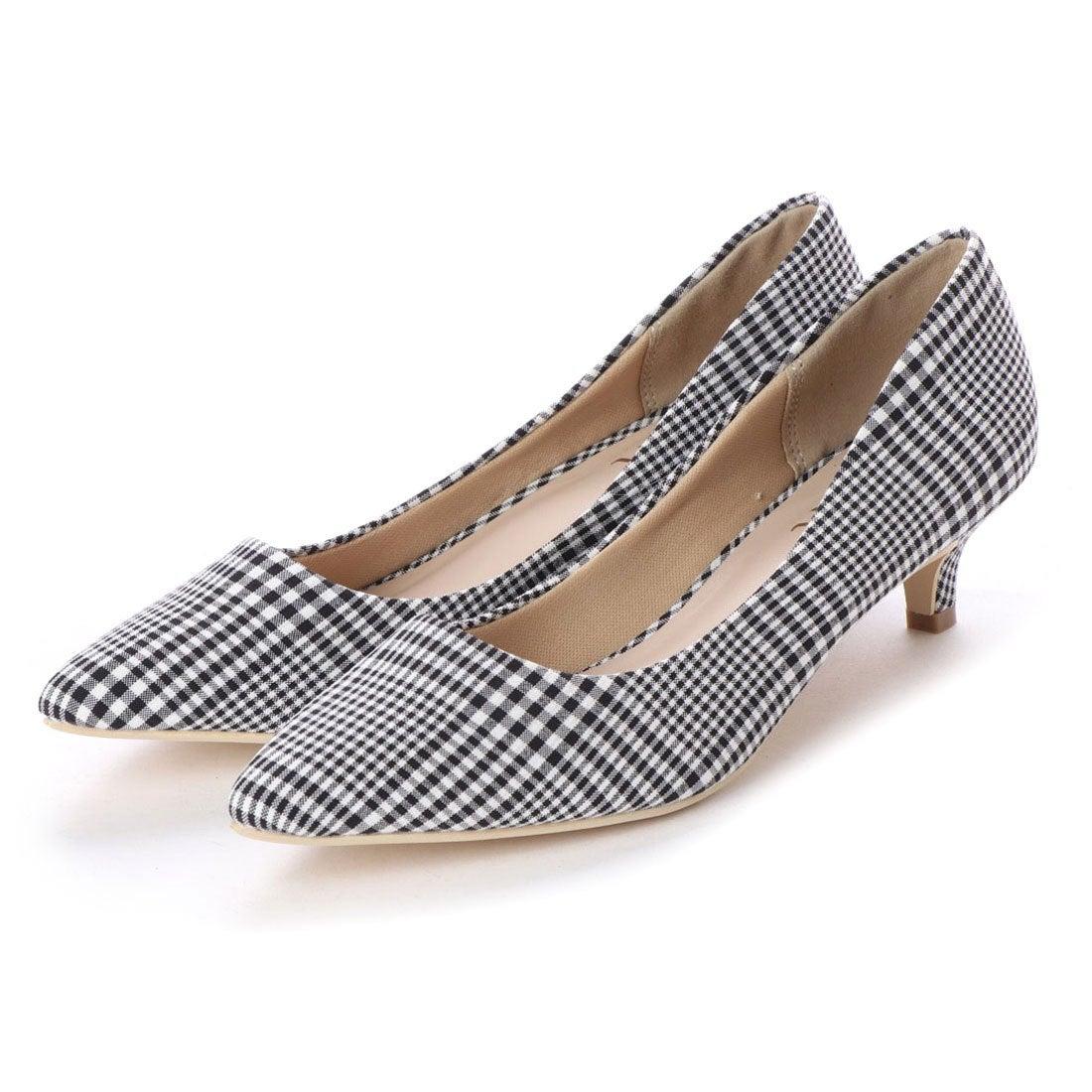 7d1e521caed7c9 ヴィヴィアン Vivian シンプルプレーンローヒールポインテッドトゥパンプス (ブラックチェック) -靴&ファッション通販  ロコンド〜自宅で試着、気軽に返品