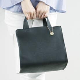カシュカシュ cache cache 仕切りポケット付きスクエアミニトートバッグ (ブラックホワイト)