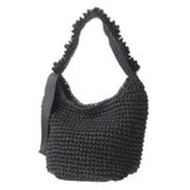 カシュカシュ cache cache フリルワンハンドル手編みトートバッグ (ブラック)