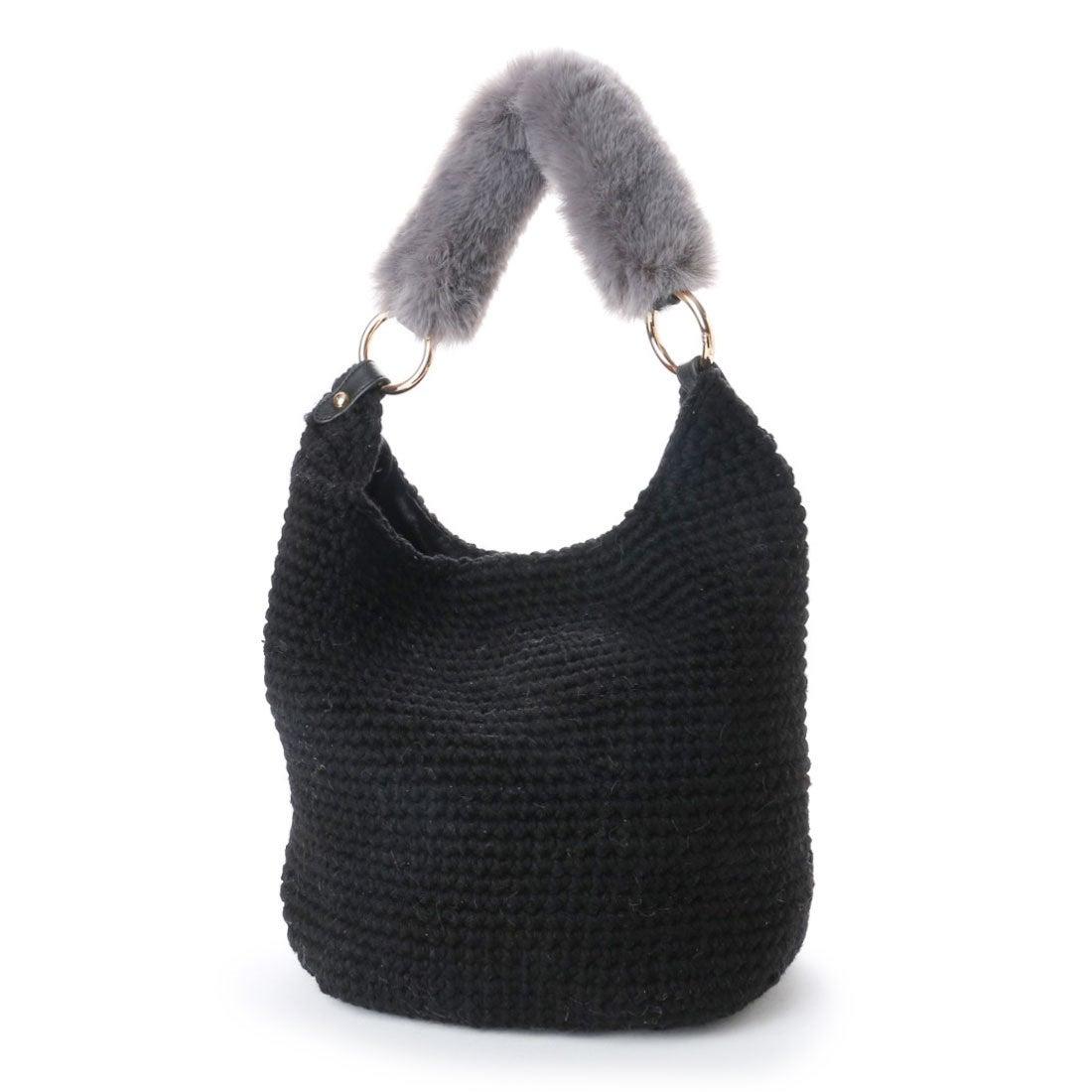【SALE 50%OFF】カシュカシュ cache cache エコファーハンドル2way手編みバッグ (ブラック) レディース