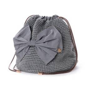 カシュカシュ cache cache リボン付き手編み巾着バッグ (グレー)
