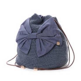 カシュカシュ cache cache リボン付き手編み巾着バッグ (ブルー)