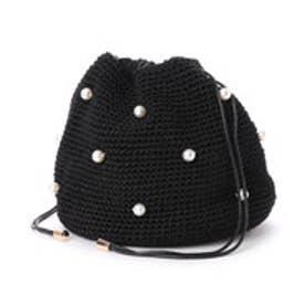 カシュカシュ cache cache パール付き手編み巾着バッグ (ブラック)