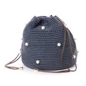 カシュカシュ cache cache パール付き手編み巾着バッグ (ブルー)