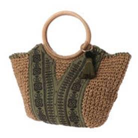 カカトゥ kakatoo ラウンド型フロント刺繍トートバッグ (カーキ)