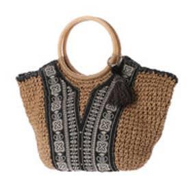 カカトゥ kakatoo ラウンド型フロント刺繍トートバッグ (ブラック)