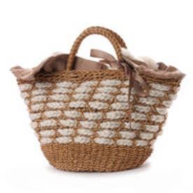 カカトゥ kakatoo エコファーフラップ付きリボン通しかごバッグ (アイボリー)