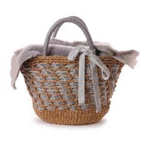 カカトゥ kakatoo エコファーフラップ付きリボン通しかごバッグ (グレー)