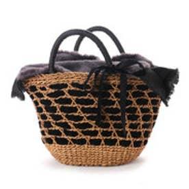 カカトゥ kakatoo エコファーフラップ付きリボン通しかごバッグ (ブラック)