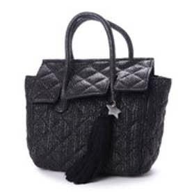 カカトゥ kakatoo キルティングポリプロプレンフラップ付トートバッグ (ブラック)