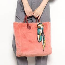 カカトゥ kakatoo スカーフ付きエコファー手提げトートバッグ (ピンク)
