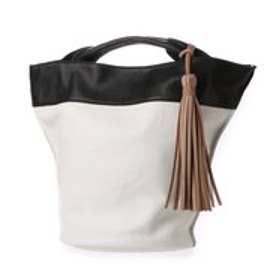 ペルケ perche 牛革ソフトバケツ型トートバッグ (ホワイトブラック)