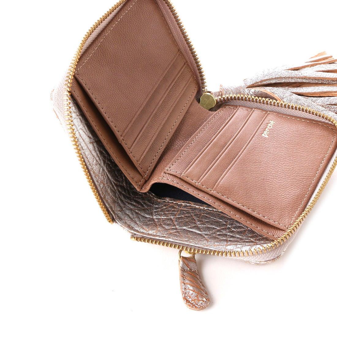 86123440e222 ペルケ perche 厚口シープタッセル付き二つ折り財布 (シルバー) -靴 ...