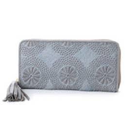 ペルケ perche イタリア製ハラコタイプ刺繍ラウンドファスナー長財布 (グレー)