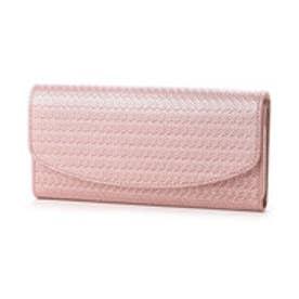 ペルケ perche パールメタリックレザー型押しかぶせ長財布 (ピンク)