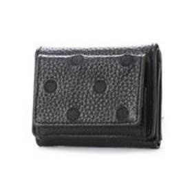 ペルケ perche 牛革ドット刺繍三つ折りボックス型ミニウォレット (ブラック)
