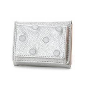 ペルケ perche 牛革ドット刺繍三つ折りボックス型ミニウォレット (シルバー)