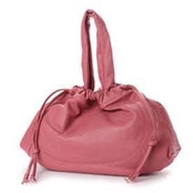 シュヴァル エレ Le cheval aile 巾着型レザートートバッグ (ピンク)