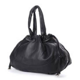 シュヴァル エレ Le cheval aile 巾着型レザートートバッグ (ブラック)