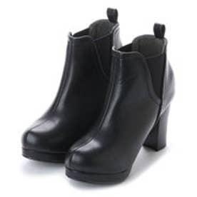 グランドフルール grandfleur Vカットサイドゴアショートブーツ (ブラック)
