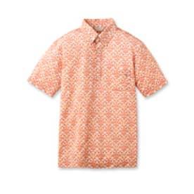 アダバット adabat シャンブレーカロープリント半袖ポロシャツ (オレンジ)