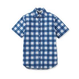 アダバット adabat アートチェックプリント半袖シャツ (ブルー)