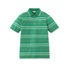 アダバット adabat リーフエンボスボーダー柄半袖ポロシャツ (グリーン)
