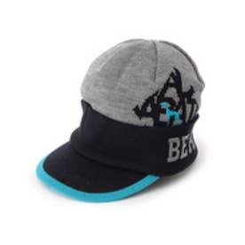 アダバット adabat サーモニットキャスケット帽 (グレー×ブラック×ライトブルー)